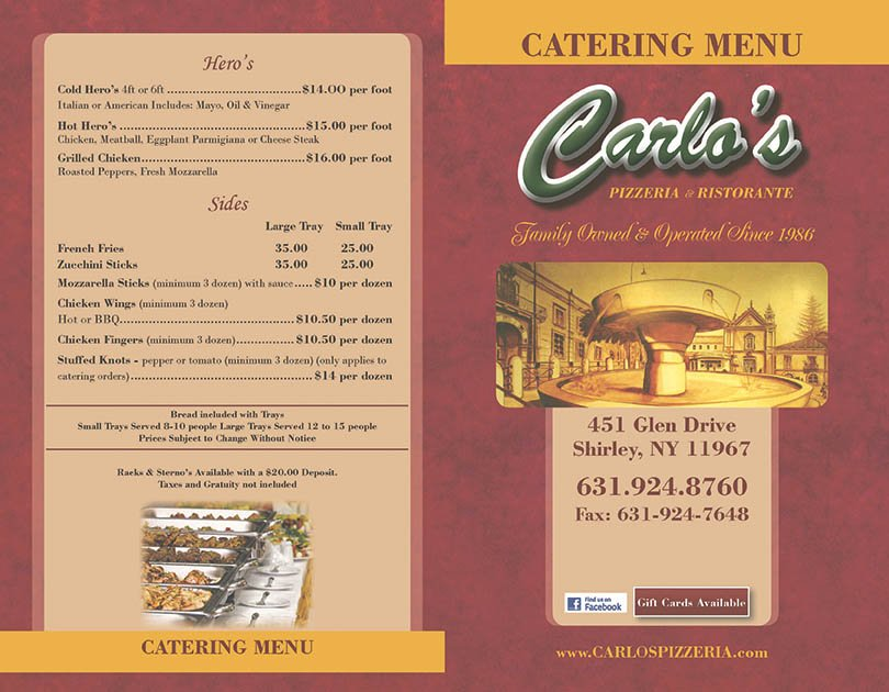 Carlos Catering Menu Page 1